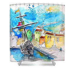 Conquistador Boat In Portugal Shower Curtain by Miki De Goodaboom
