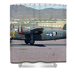 Shower Curtain featuring the photograph Consolidated B-24j Liberator N224j Witchcraft Deer Valley Arizona April 13 2016 by Brian Lockett