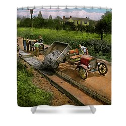 Shower Curtain featuring the photograph Construction - Dumping Made Easy 1925 by Mike Savad