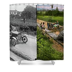 Shower Curtain featuring the photograph Construction - Dumping Made Easy 1925 - Side By Side by Mike Savad