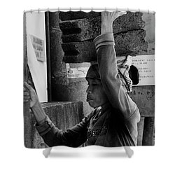 Shower Curtain featuring the photograph Construction Labourer - Bw by Werner Padarin