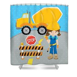 Construction Zone - Concrete Truck Roadwork In Progress Gifts #16 Shower Curtain