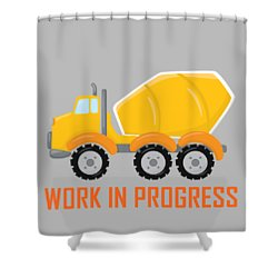 Construction Zone - Concrete Truck Work In Progress Gifts - Grey Background Shower Curtain