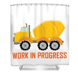 Construction Zone - Concrete Truck Work In Progress Gifts - White Background Shower Curtain