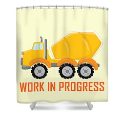 Construction Zone - Concrete Truck Work In Progress Gifts - Yellow Background Shower Curtain