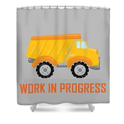 Construction Zone - Dump Truck Work In Progress Gifts - Grey Background Shower Curtain