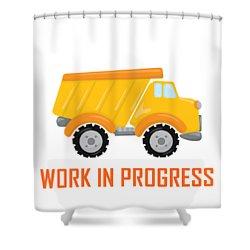 Construction Zone - Dump Truck Work In Progress Gifts - White Background Shower Curtain