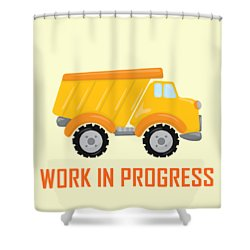 Construction Zone - Dump Truck Work In Progress Gifts - Yellow Background Shower Curtain