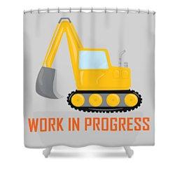 Construction Zone - Excavator Work In Progress Gifts - Grey Background Shower Curtain