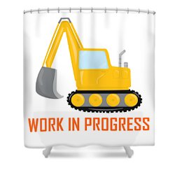 Construction Zone - Excavator Work In Progress Gifts - White Background Shower Curtain