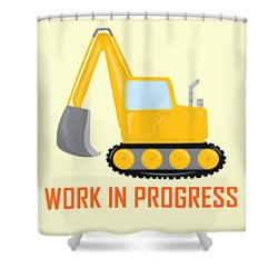 Construction Zone - Excavator Work In Progress Gifts - Yellow Background Shower Curtain