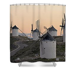 Shower Curtain featuring the photograph Consuegra Windmills by Heiko Koehrer-Wagner