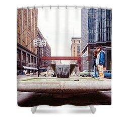 Contemplating The Fountain At 8th And Nicollet. Shower Curtain