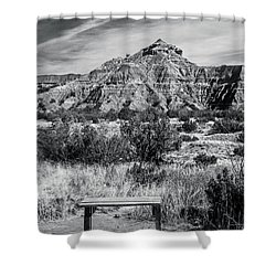Contemplation Bench Bw Shower Curtain