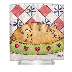 Shower Curtain featuring the painting Contented Kitty by Terry Taylor