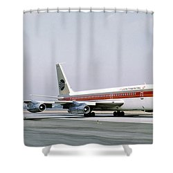 Continental Airlines 720-024b N17207 Los Angeles July 22 1972 Shower Curtain by Brian Lockett