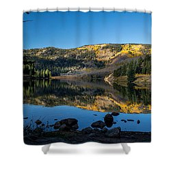 Contract Lake Fall Morning Shower Curtain