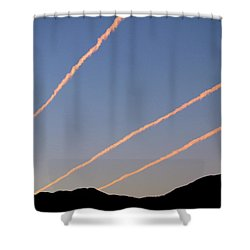 Shower Curtain featuring the photograph Contrails Over The Central Coast by Art Block Collections
