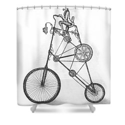 Contraption Shower Curtain by Adam Zebediah Joseph