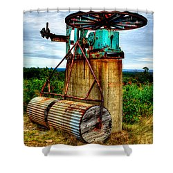Shower Curtain featuring the photograph Contraption On Mt Agamenticus by Richard Ortolano