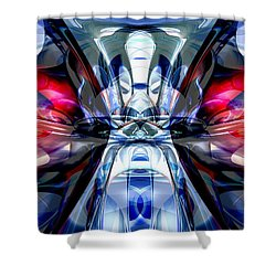 Convergence Abstract Shower Curtain by Alexander Butler