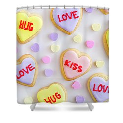 Shower Curtain featuring the photograph Conversation Heart Cookie Love by Teri Virbickis