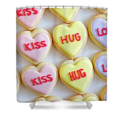 Shower Curtain featuring the photograph Conversation Heart Decorated Cookies by Teri Virbickis