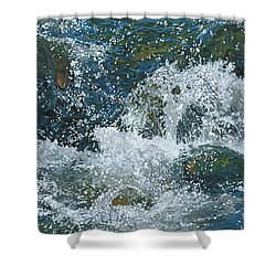 Shower Curtain featuring the painting Cool Blue by Nadi Spencer
