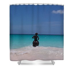Shower Curtain featuring the photograph Cool Off Man by Mary-Lee Sanders