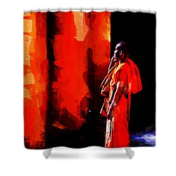 Shower Curtain featuring the digital art Cool Orange Monk by Cameron Wood