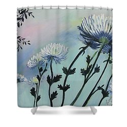 Cool White Spider Mums Shower Curtain