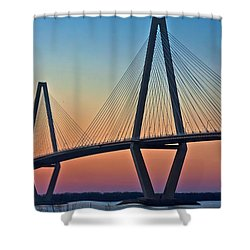 Cooper River Bridge Sunset Shower Curtain by Suzanne Stout