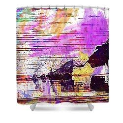 Shower Curtain featuring the digital art Coot Bird Water Bird  by PixBreak Art