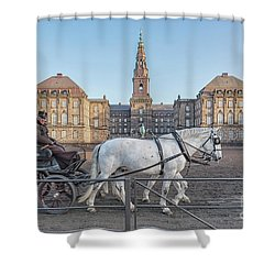 Shower Curtain featuring the photograph Copenhagen Christianborg Palace Horse And Cart by Antony McAulay