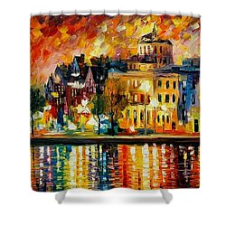 Copenhagen Original Oil Painting  Shower Curtain by Leonid Afremov