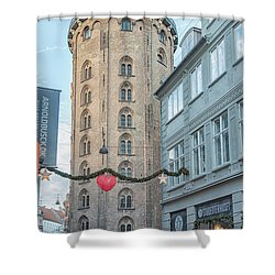 Shower Curtain featuring the photograph Copenhagen Round Tower Street View by Antony McAulay