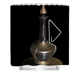 Copper And Black Wine Server Shower Curtain by Judy Johnson