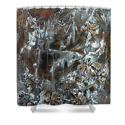 Shower Curtain featuring the painting Copper And Mica by Joanne Smoley