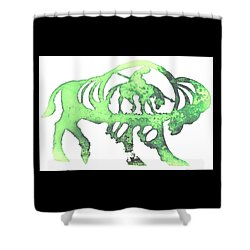 Shower Curtain featuring the pyrography Copper Buffalo by Larry Campbell