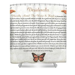 Copper Butterfly Desiderata Shower Curtain by Desiderata Gallery