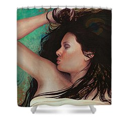 Shower Curtain featuring the painting Copper Dreamer by Ragen Mendenhall