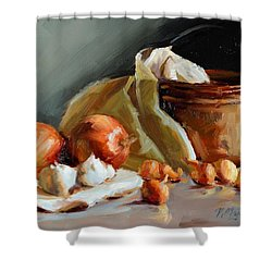 Copper Vessel And Onions Shower Curtain