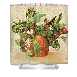 Shower Curtain featuring the digital art Copper Watering Can by Lois Bryan