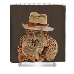 Coppershine Popcorn Bust - T-shirt Transparency Shower Curtain