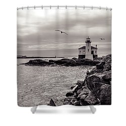 Coquille Lighthouse Oregon  Shower Curtain