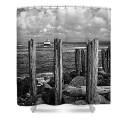 Coquille Lighthouse Shower Curtain