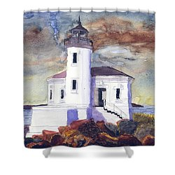 Shower Curtain featuring the painting Coquille Lighthouse Watercolor by Chriss Pagani