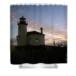 Coquille River Lighthouse At Sunset Shower Curtain