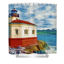 Shower Curtain featuring the painting Coquille River Lighthouse by Jeff Kolker