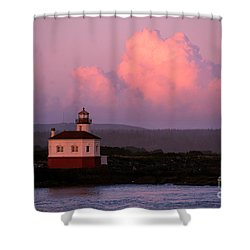 Coquille River Lighthouse Sunset Shower Curtain